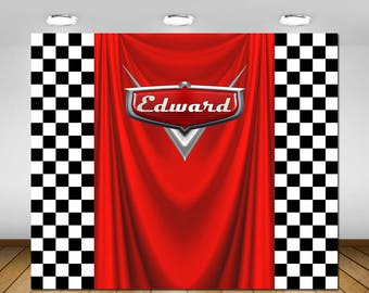 Cars Birthday Party Backdrop, Cars Party Decorations, Cars Party Banner, Backdrop, Poster, Sign, Banner, Birthday Party, Checkers, 72x60''
