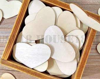 200 PCS THIN Wood Heart Laser Cut Wooden Heart Rustic Wedding Bridal Shower Decorations Table Confetti Scrapbooking Thickness 1mm | Blank