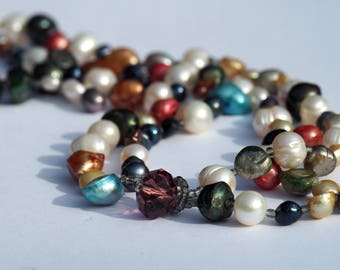 Freshwater Pearl Handmade Necklace, Multicolored and mixed shapes fresh water pearls on a beautiful two strand necklace.