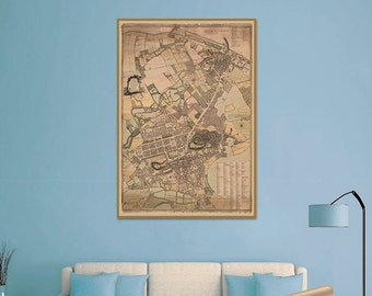 Old Map of Edinburgh, Leith Walk, Royal Mile, Old Town, New Town | Giclée Print of Massive Antique Town Plan of Edinburgh City, Scotland
