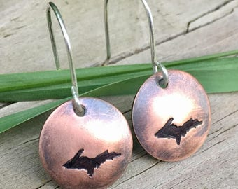 Hand Stamped Copper UP Earrings;      Upper Michigan; Yooper; Upper Peninsula Jewlery; Custom Stamped Jewelry          ( #MJ-E-01COP)