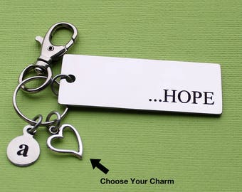 Personalized Hope Key Chain HOPE Stainless Steel Customized with Your Charm & Initial - K724