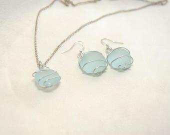Wire wrapped blue sea glass jewelry set, aqua sea glass, earrings, necklace, jewelry set