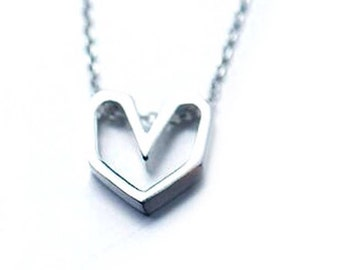 925 Sterling Silver Jewelry Open Heart Love Pendants Necklace