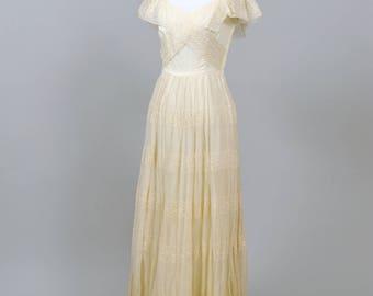 1950 Eyelet Chiffon Vintage Wedding Gown