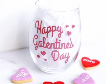 Happy Galentine's Day Wine Glass - Parks and Rec Inspired Wine Glass - Gifts for Her - Ladies Valentine's Day Gift - 15oz Stemless Wine