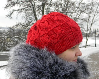 Slouchy Knit Beanie Knit red hat for women Ladies Winter Hat knitted hat Soft lava red color hat winter accessories Seamless
