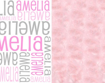 Personalized Girl Baby Blanket, Baby Minky Blanket, Girl's Minky Blanket, Personalized Blanket, Crib Blanket, Stroller Blanket