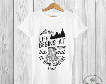 Life begins at the end of your comfort zone - Men's T-shirt  - Positive Tee - Hipster T-shirt -  -  Organic t-shirt - Black Tee Shack
