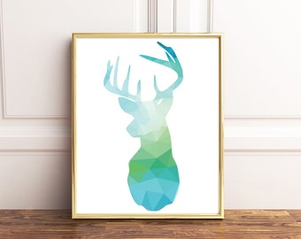 Deer, Deer Wall Art, A4, Deer Head Print, Geometric Print, Geometric Poster, Printable Wall Art, Blue Green Deer, Digital Download