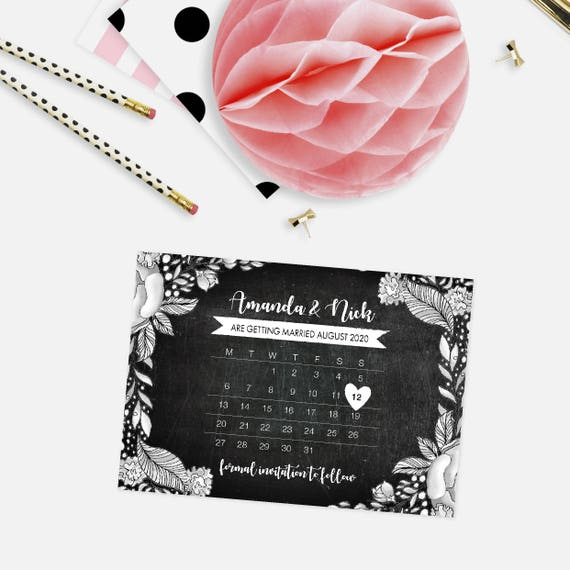 Rustic Save the date postcards, Calendar save the date postcards, Wedding announcement postcard, Wedding save the date cards, Save-the-Date