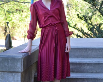 1970s bergundy dress | short dress | size s