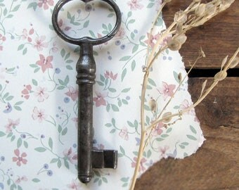 Antique key - 19th century cast steel skeleton door, gate or jail key - 3 inches - perfect pendant size