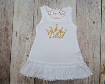 First Birthday Dress / White / Gold Glitter Crown / Birthday Princess / 1st Birthday Dress / Cake Smash Outfit / Party/ Baby / Girl /Toddler