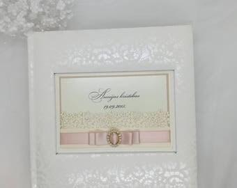 Clear pockets Album, Picture Album, Wedding Photo Album with clear pockets, Satin ribbon, Wedding memories, 4x6 photos