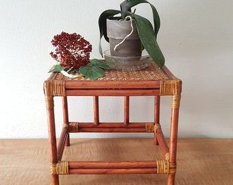 Bamboo and Wicker Plant Stand Boho Jungalow Garden Decor Floor or Table Top Plant Stand