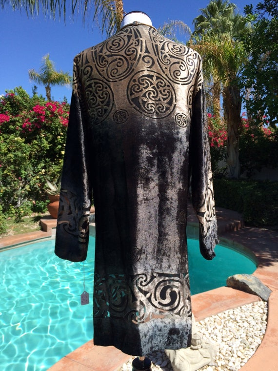 1 Velvet Long Jacket and Top,Shimmery Champagne and Black,Celtic Triskelion Pattern,Size Medium