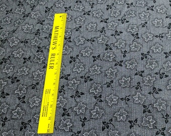 Vintage Lacy Floral Mourning Black Cotton Fabric from Paintbrush Studios