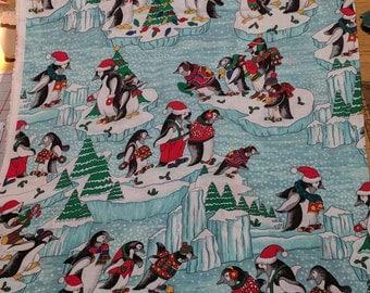 Penguins on Ice Cotton Fabric
