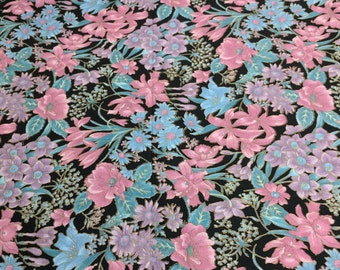 Countryside Collection-Pink and Purple Flowers on Black Cotton Fabric from Hoffman Fabrics