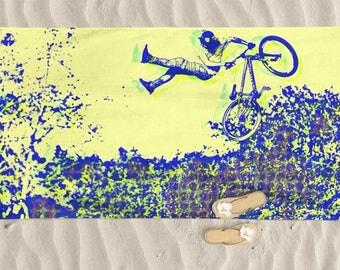 Beach Towel, Men beach towel, bike art, mountain bike art, Cycling Art, Beach Lover, Man gift, Cycling Gift, Beach Gift, Trek Bike, BMX Bike