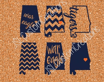 Auburn SVG, eps, DXF, png Cut Files for Silhouette, Cricut, Vectors, Digital Download, War Eagle, Tigers, Football, College, State Shapes, 6