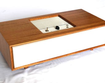 Bluetooth Speaker - MODERNO 35 - Wireless - Mini Vacuum Tube High End Audio - Vintage Midcentury Modern - Mahogany Hard Wood