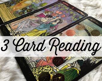 3 Card Tarot Reading / Mini Tarot Reading / 3 Card Spread Tarot Reading