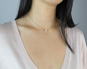 Dainty Mini Pearl Necklace, 14K Gold filled & Sterling Silver