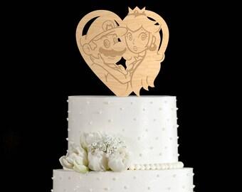 Mario and peach cake topper,super mario and princess peach wedding,super mario cake topper,super mario wedding cake topper,super mario,66917
