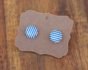 Blue and yellow striped earrings