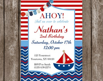 Nautica, Sailboat, Ahoy Birthday Invitation Set-Digital