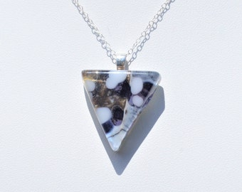 Purple glass pendant, triangle pendant, purple fused glass jewelry, 925 sterling silver necklace, gift for her
