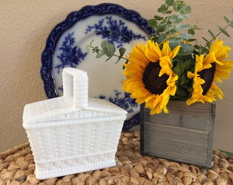Westmoreland Milk Glass Picnic Basket