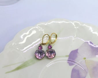 Fused Light Sapphire ,Light Rose & Rose Pink Round Vintage earrings, drop, dangle