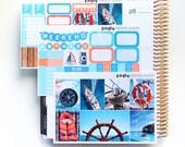 Nautische MINI wöchentlichen Kit (Aufkleber für Erin Condren Life Planner - Vertical)