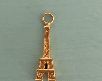 Eiffel Tower Charm 14K Gold and Diamond