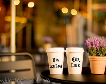 His Zelda Her Link Adhesive Decals Couples Mug Wine Tumbler Partners Wedding Gift Present Decal Marriage Valentines Day Love Married Custom