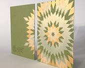 Letterpress Holiday Card - Gold Metallics on Green (package of 6)