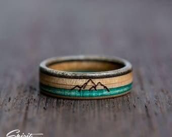 Wooden Ring - Mountain Ring - Climbing Ring - Mountain Lover - Recycled Skateboard Ring - Brown - Green - Turquoise - Traveler gift