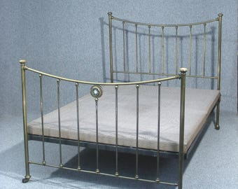 Bed, Antique Bed, Victorian Brass Bed, Double Bed, With Original Base
