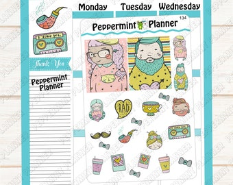 Hipster --- Planner Sticker --- Boxes fit the Erin Condren Planner --- 134
