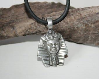 Necklace silver, Tutsch ench Amun, Amulet, lucky charm, necklace, Egyptian sculpture, Tin Pendant,