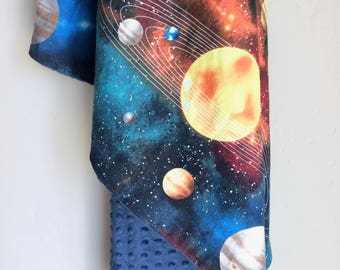 Crib Sheet | Changing Pad Cover | Baby Blanket | Outer Space Planets Solar System Stars Constellation Explorer Astronaut Boy Nursery Bedding