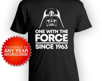 55th Birthday T Shirt Funny Birthday Shirt Nerd Gifts For Him Geek Clothing Bday One With The Force Since 1963 Birthday Mens Tee - BG551