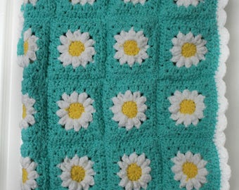 Crochet baby blanket - Daisys - Flowers - Baby girl - Newborn - Baby shower gift - New baby gift -