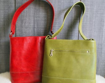 Leather shoulder bag, Leather bag, Handmade bag, Green leather bag, Red leather bag, Gift Woman, Shoulder bag, Handmade leather Bag,