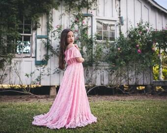 Bohemian Flower Girl Dresses, Pink Flower Girl Dress, Junior Bridesmaid Dress, Girls Boho Lace Maxi Dress, Toddler Maxi Dress