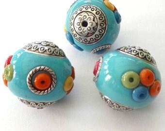 10 Handmade Bali Style 20X22mm Blue Round Beads