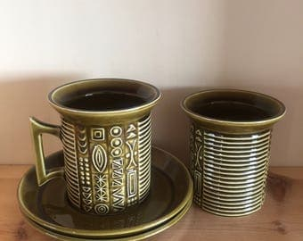 Vintage 1960's Pair of Portmeirion Cypher Coffee Mug Cup and Saucers by Susan Williams-Ellis Stoke-on-Trent